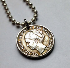 Netherlands Curacao 1/4 Gulden Silver coin pendant necklace Juliana n000909