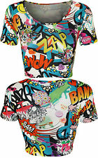 New Womens Comic Cartoon Graffiti Print Ladies Round Short Sleeve Crop Top