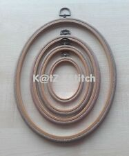 OVAL WOODGRAIN EFFECT FLEXI HOOP 2.5 - 10in PICK SIZE CROSS STITCH / EMBROIDERY