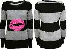 New Womens Knitted Lips Striped Jumper Ladies Hot Pink Long Sleeve Top