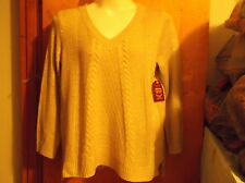 NEW LADY'S FADED GLORY OATMEAL COLORED  HEAVY WEIGHT TEXTURE  V' NECK   SWEATER