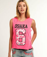 New Womens Superdry Hibiscus Cropped Vest Top Fluro Pink