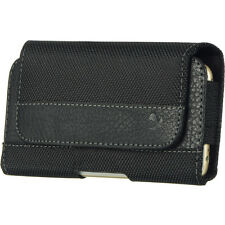 Luxmo PU Leather Belt Clip Holster Pouch Clip Case Black Flip For Phones