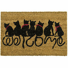 Cats Welcome Large Coir Doormats Outdoor Front Door Non Slip Rubber Back Matting
