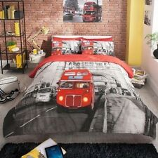 DOONA COVER SETS MODERN LONDON RED BUS DESIGN BEDDING IN SINGLE DOUBLE AND KING