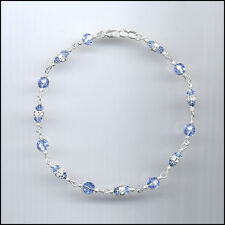 Dainty Sterling Silver Anklet with Swarovski LIGHT BLUE Crystals & Rondelles