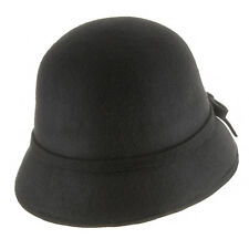 Elle Wool Felt Classic Vintage Style Cloche Bucket Bell Winter Hat with Bow