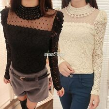 Women Long Sleeve Floral Lace Shirt Embroidery Crochet T-Shirt Blouse Tops Tee