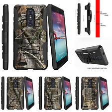 For ZTE ZMax Pro| ZTE Carry Rugged Holster Clip Stand Case Tree Bark Hunter Camo