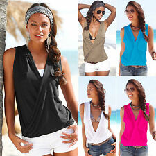 Womens Sexy V Neck Wrap Tank Top Vest Sleeveless Casual T-shirt Beach Top Blouse