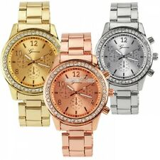 Unisex Womens Mens Fashion Luxury  Bling Crystal Stainless Steel Wrist Watch