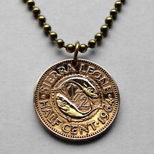 Sierra Leone 1/2 cent coin pendant Sierra Leonean fish necklace African n000101