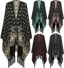 Womens Reversible Knitted Aztec Knitted Pattern Tassel Cape Shawl Ladies Poncho