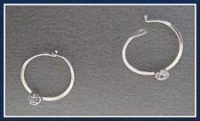 STERLING SILVER & 14Kt GOLD FILLED HOOP EARRINGS -AUSTRIAN CRYSTAL. (SSE/GFE-CY)