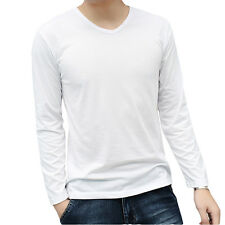 Casual Men's V-Neck Long Sleeve Slim Fit Muscle Cotton Lycra Casual T-Shirt