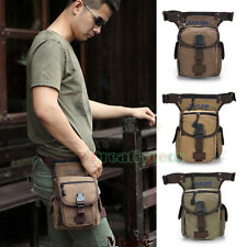 Men's Waist Leg Drop Bag Canvas Travel Hiking Motorcycle Riding Fanny Pack Pouch