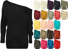 New Ladies Off Shoulder Batwing Long Sleeved Plain T-Shirt Womens Tunic Top
