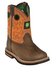 John Deere Baby Infant Leather Pull On Square Toe Boots Dark Brown JD1319