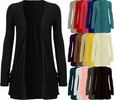 New Womens Plain Stretch Ladies Pocket Long Sleeve Open Cardigan Top