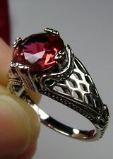 3ct Round Cut*Red Ruby* Sterling Silver Art Deco Bow Filigree Ring Size: Any/MTO