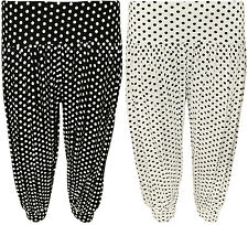 New Womens Plus Size Polka Dot Print Spot Crop Ladies Harem Pants Trousers