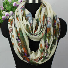 Women Fashion Flower Butterfly Birds Animal Long Shawl/Infinity Loop Cowl Scarf