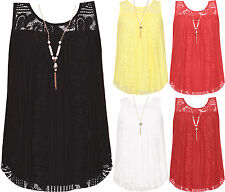 Womens Plus Sleeveless Crochet Lace Lined Bow Back Vest Ladies Necklace Top