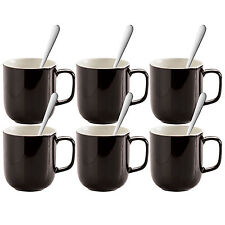 Set Of 6 Black Stoneware 14oz Mugs Tea Coffee Latte Hot Chocolate Cups & Spoons
