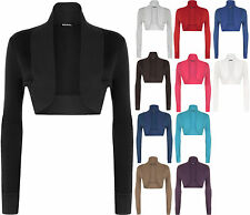 New Plus Size Womens Long Sleeve Plain Ladies Shrug Bolero Cardigan Top