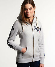 New Womens Superdry Borg Lined Applique Zip Hoodie Ice Marl