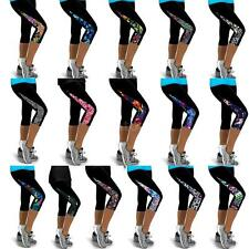 Womens Sports Tights Cropped Pants Workout Trousers Running Leggings Yoga T0Q7