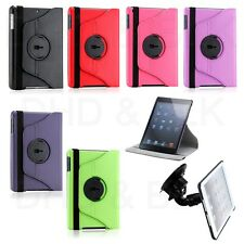 360 Rotating PU Leather Case Cover Stand  w/ Car Mount For Apple iPad Mini 1 2 3