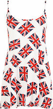 New Plus Size Womens Union Jack Flag Print Strappy Swing Flared Top Ladies Vest