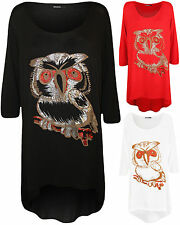 New Plus Size Womens Owl Glitter Print 3/4 Sleeve Scoop Ladies Dip Hem Top