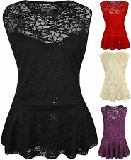 New Plus Size Womens Floral Lace Sequin Sleeveless Ladies Peplum Party Top