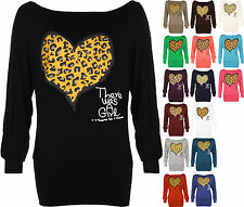 New Womens Plus Size Leopard Animal Heart Print Ladies Batwing Sleeve Top