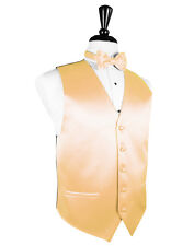 New Mens Apricot Solid Satin Tuxedo Vest Tie Set Formal Wedding Prom All Size