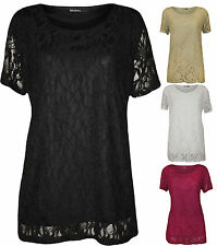 New Plus Size Womens Lace Floral Lined Ladies Short Sleeve T-Shirt Top