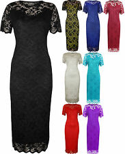 New Plus Size Womens Lace Lined Ladies Short Sleeve Bodycon Midi Dress