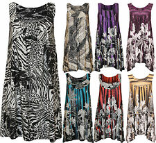 New Plus Size Womens Sequin Print Ladies Sleeveless Long Swing Vest Top