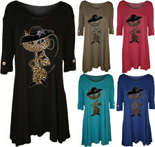 Womens Cat Animal Print Short Sleeve Plus Size Diamante Ladies Flared Top