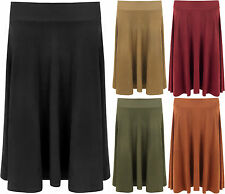 New Plus Size Womens Long Suede Look Knee Length Stretch Flared Ladies Skirt