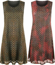 New Plus Size Womens Lace Lined Sleeveless Long Swing Flared Top Ladies Vest