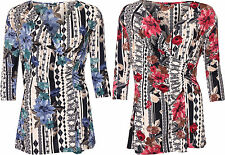 Womens Plus Wrapover Cowl V Neck Floral Print Ruched 3/4 Sleeve Ladies Top