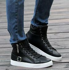 Teenager Mens lace up zip skate board ankle boots sneaker hip hop dance shoes