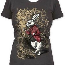 New Authentic Alice in Wonderland Late Rabbit Juniors Tee Shirt in Gray