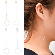 Lady Punk Geometric Circle Ear drop Long Chain Earrings Dangle Stud Fashion
