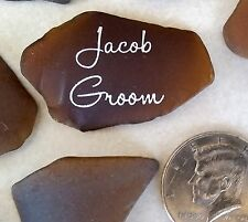 Sea Glass Seating, Escort, Name,  Place cards, 90 Pieces Frosted BROWN Seaglass