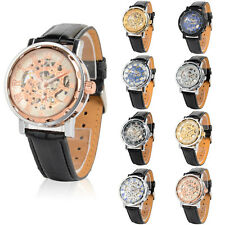 Men's Classic Army Gold Dial Skeleton Black Leather Mechanical Sport Wrist Watch