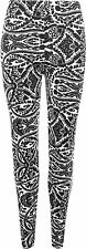 New Womens Plus Size Paisley Print Full Long Ladies Stretch Pants Leggings